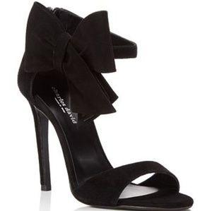 Charles David black velvet heels w/ bow size 8 NWT